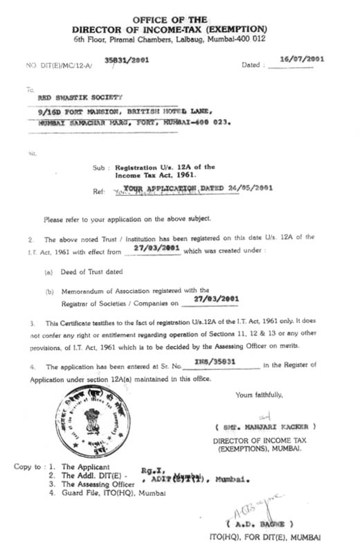 Certificate of Registration u/s 12A of the Income Tax Act. 1961